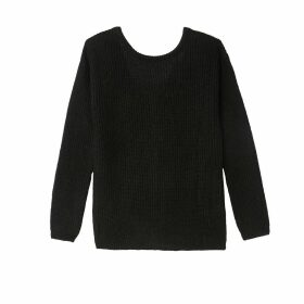 Long-Sleeved Jumper with Buttoned V-Back