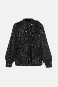 Miu Miu - Tie-detailed Sequined Crepe Blouse - Black