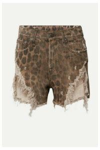 R13 - Distressed Leopard-print Denim Shorts - Leopard print