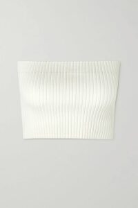 Vince - Flounce Ribbed Stretch-knit Top - Navy