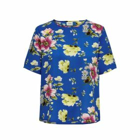 Jdyhero Floral Print Crew Neck Blouse with 3/4 Length Sleeves