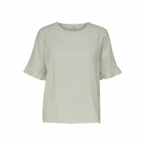 Jdyggy Polka Dot Crew Neck Blouse with Ruffled 3/4 Length Sleeves