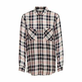 Check Print Long-Sleeved Blouse