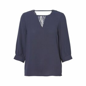Round Neck Blouse with 3/4 Length Sleeves