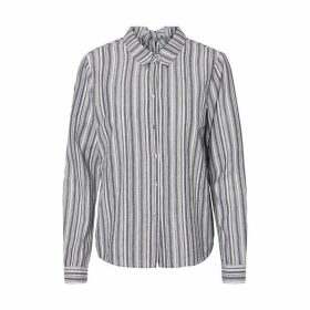 Striped Cotton Blouse with Long Sleeves