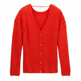 Fine Knit V-Neck Buttoned Cardigan