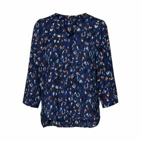 Zigga Graphic Print V-Neck Long-Sleeved Blouse