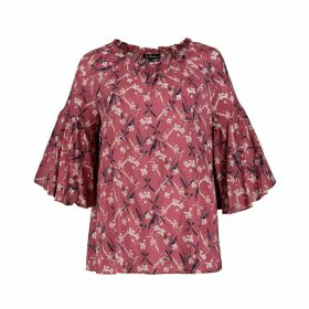 Floral Print Blouse with Ruffled 3/4 Length Sleeves