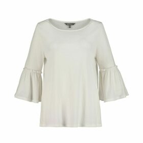 Round Neck Blouse with Ruffled 3/4 Length Sleeves