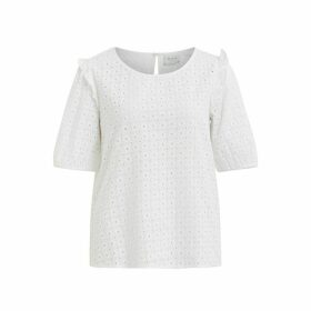 Virosanna Open Embroidered Cotton Blouse with 3/4 Length Ruffled Sleeves