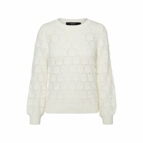 Fine Openwork Knit Crew Neck Jumper