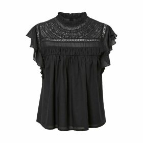 Guipure Lace Mock Neck Blouse with Short Ruffled Sleeves