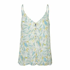 Buttoned Floral Print Camisole with Shoestring Straps