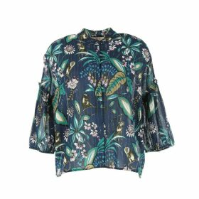 Registre Printed Blouse with Long Puff Sleeves