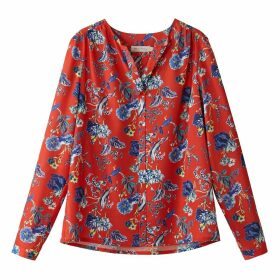 Long-Sleeved Floral Print V-Neck Blouse