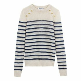 Cotton/Linen Breton Striped Buttoned Openwork Jumper