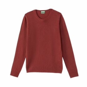 Fine Knit Wool Jumper with Crew Neck