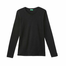 Cotton Crew Neck Long-Sleeved T-Shirt