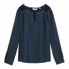 Draping Long-Sleeved Grandad Collar Blouse