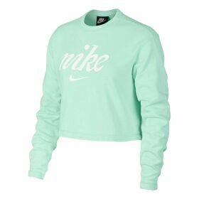 Cropped Cotton Sweatshirt with Logo Print