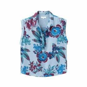 Floral Print Short Sleeveless Shirt