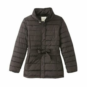 Long Belted Padded Jacket with High Neck