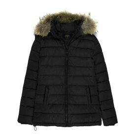 Hooded Jacket with Faux Fur Trim