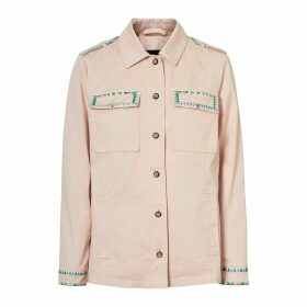Cotton Utility Jacket with Embroidered Pockets