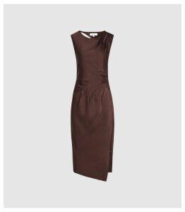 Reiss Julietta - Pleat Detailed Midi Dress in Chocolate, Womens, Size 16