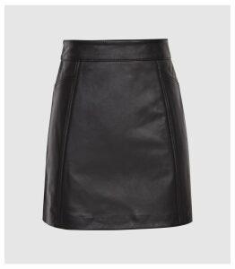 Reiss Arden - Leather Mini Skirt in Black, Womens, Size 14