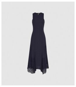 Reiss Romi - Lace Detailed Midi Dress in Navy, Womens, Size 16