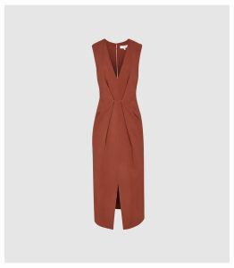 Reiss Gracie - Pleat Detailed Midi Dress in Rust, Womens, Size 16