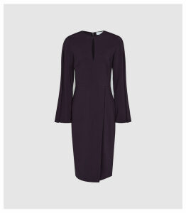 Reiss Anouk - Wrap Front Slim Fit Dress in Berry, Womens, Size 16