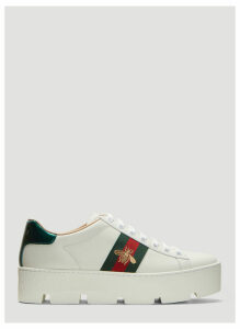 Gucci Ace Embroidered Platform Sneakers in White size EU - 39