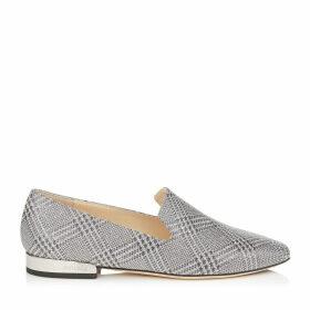JAIDA FLAT Chaussures plates en étoffe pailletée argentée prince-de-galles