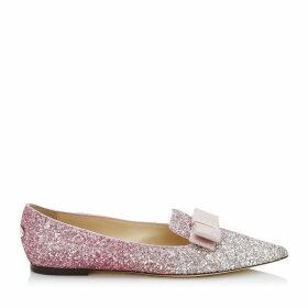 GALA Chaussures plates à bout pointu en étoffe à dégradé pailleté platine et flamant avec un naud