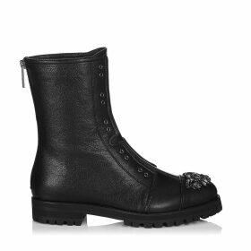 HATCHER Combat boots en cuir grainé noir ornées de cristaux