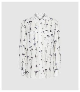 Reiss Aislin Print - Floral Printed Blouse in White, Womens, Size 14