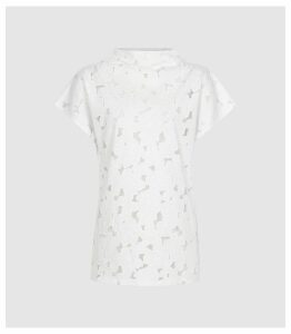 Reiss Sofia - Capped Sleeve Lace Top in White, Womens, Size XL