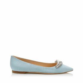 ROMY FLAT Chaussures plates à bout pointu en étoffe moirée bleue avec un diadème de cristaux