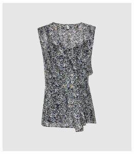 Reiss Harley - Ditsy Printed Top in Blue, Womens, Size 14