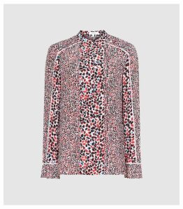 Reiss Ottilie - Floral Printed Blouse in Red, Womens, Size 16