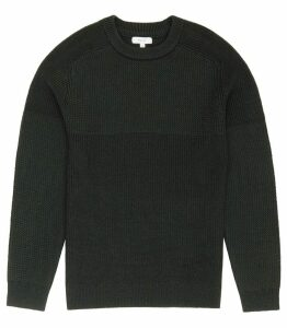 Reiss Mote - Textured Crew-neck Jumper in Racing Green, Mens, Size XXL