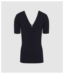 Reiss Ada - V-neck Knitted Top in Navy, Womens, Size XXL