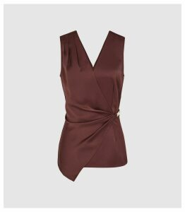 Reiss Wendy - Wrap Front Satin Top in Chocolate, Womens, Size 16
