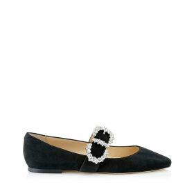GOODWIN FLAT Chaussures plates en daim noir avec boucles diamantées