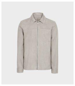 Reiss Marlo - Suede Zip Through Jacket in Soft Grey, Mens, Size XXL