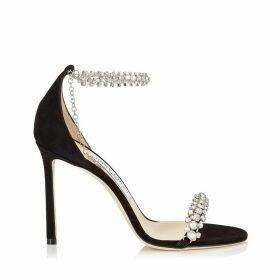 SHILOH 100 Sandales en daim noir avec détails de bijoux