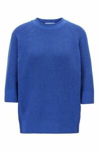 Relaxed-fit cotton sweater with raglan sleeves