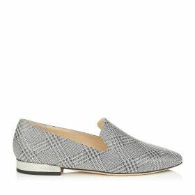 JAIDA FLAT Flache Schuhe aus feinem silbernen Glitzergewebe mit Prince of Wales Checkmotiv